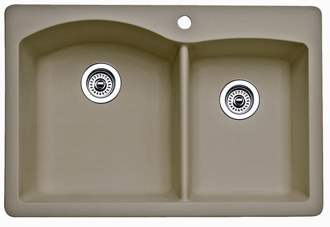 Blanco Silgranit Diamond - Dual Deck Kitchen Sink, 1-3/4 Bowl Truffle 441283