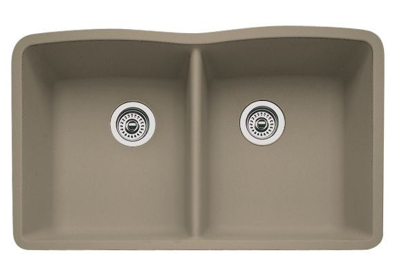 Blanco Silgranit Diamond - Undermount Kitchen Sink, Equal Double Bowl Truffle 441286