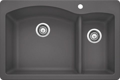 Blanco Silgranit Diamond - Dual Deck Kitchen Sink, 1-1/2 Bowl Cinder 441464