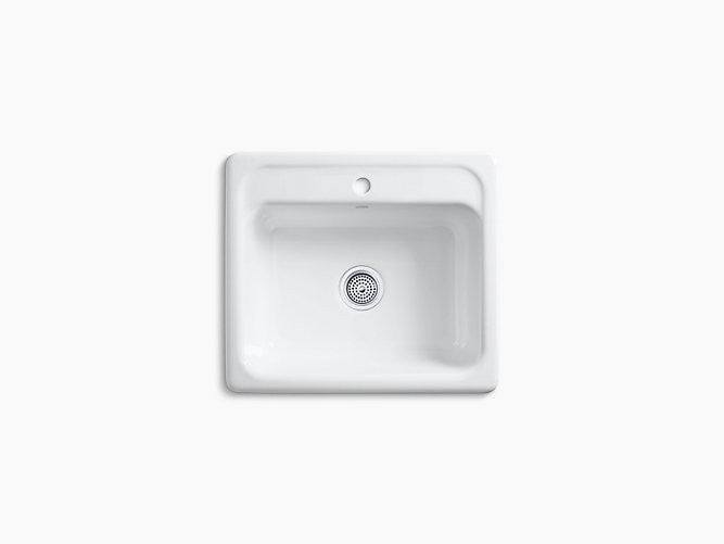 kohler mayfield 1 hole drop in cast iron single bowl kitchen sink rh centralplumbingandheating com white cast iron single bowl kitchen sink kohler cast iron single bowl kitchen sink