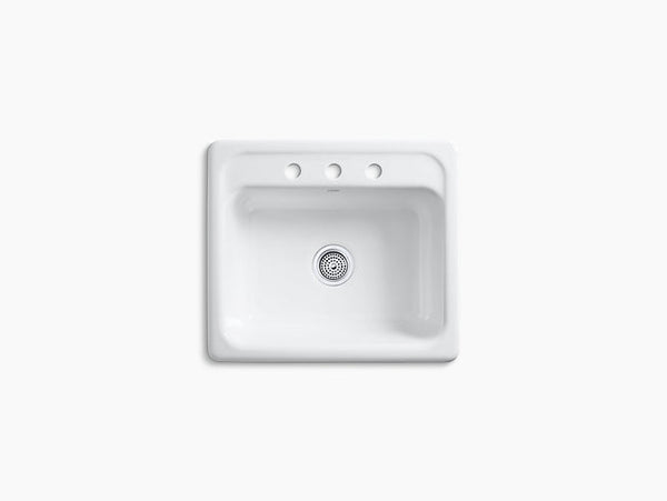 Kohler Mayfield 3-Hole Drop-In Cast Iron Single Bowl Kitchen Sink K-5964-3-0 White