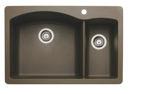 Blanco Silgranit Diamond - Dual Deck Kitchen Sink, 1-1/2 Bowl Cafe Brown 440197