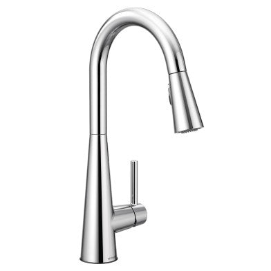 Moen 7864 Sleek pull down kitchen faucet against white background