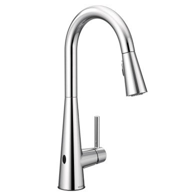 Moen Sleek 7864EWC chrome pull down kitchen faucet with motion sense against white background