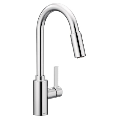 Moen Genta 7882 chrome pull down kitchen faucet against white background