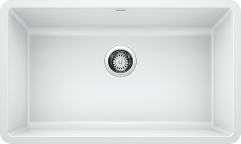 Blanco Silgranit Precis - Super Single Bowl Undermount Kitchen Sink - White / 440150