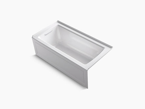 Kohler Archer 60 inch x 30 inch Alcove Tub with Integral Apron and Tile Flange Left Drain K-1946-LA-0 White