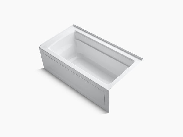 Kohler Archer 60 inch x 32 inch Alcove Tub with Integral Apron and Tile Flange Right Drain K-1123-RA-0 White