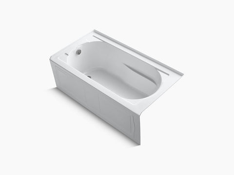 Kohler Devonshire 60 inch x 32 inch Alcove Tub with Integral Apron and Tile Flange Left Drain K-1184-LA-0 White