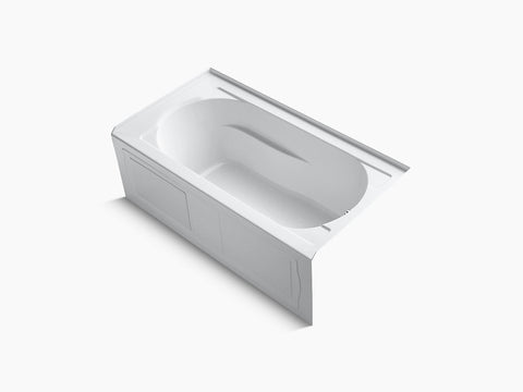 Kohler Devonshire 60 inch x 32 inch Alcove Tub with Integral Apron and Tile Flange Right Drain K-1184-RA-0 White