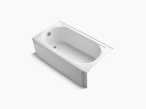 Kohler Memoirs 60 inch x 32 inch Cast Iron Tub with Integral Apron and Tiling Flange Left Drain K-721-0 White