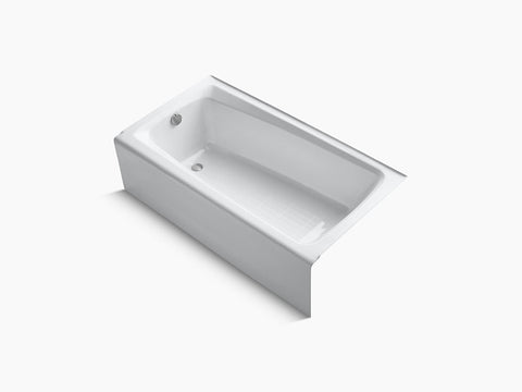 Kohler Mendota 60 inch x 32 inch Cast Iron Tub with Integral Apron and Tiling Flange Left Drain K-505-0 White