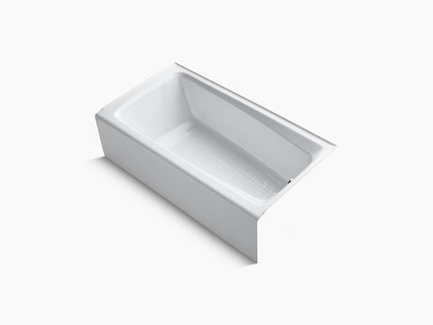 Kohler Mendota 60 inch x 32 inch Cast Iron Tub with Integral Apron and Tiling Flange Right Drain K-506-0 White
