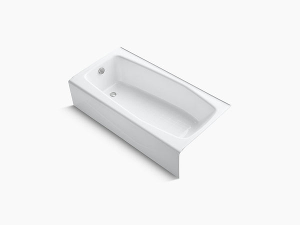 Kohler Villager 60 inch x 30 inch Cast Iron Tub with Integral Apron and Tiling Flange Left Drain K-715-0 White