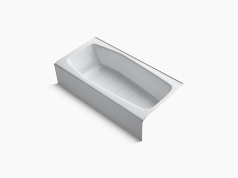 Kohler Villager 60 inch x 30 inch Cast Iron Tub with Integral Apron and Tiling Flange Right Drain K-716-0 White