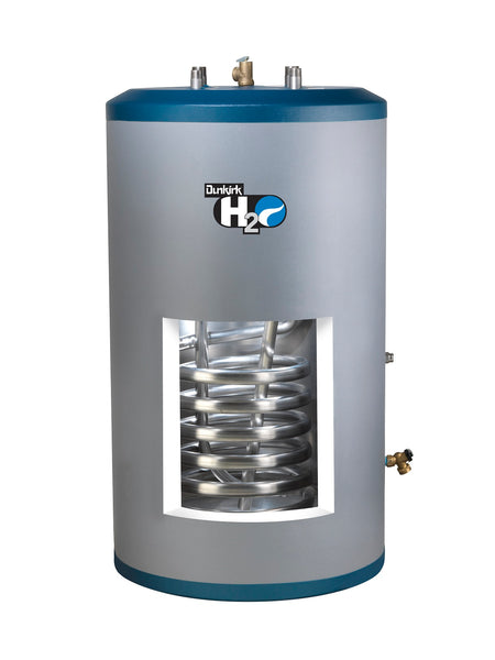 Dunkirk H2OI80DK 80 gallon indirect water heater showing stainless steel coil