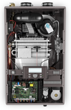 Rheem RCBH180DVLN combination boiler hot water heater internal view with cover off
