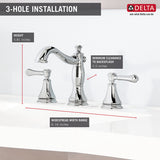 Delta Cassidy Two Handle Widespread Lavatory Faucet - Metal Pop-up - 3597