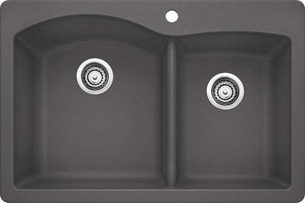 Blanco Silgranit Diamond - Dual Deck Kitchen Sink, 1-3/4 Bowl Cinder 441465