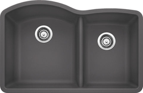 Blanco Silgranit Diamond - Undermount Kitchen Sink, 1-3/4 Bowl Cinder 441469