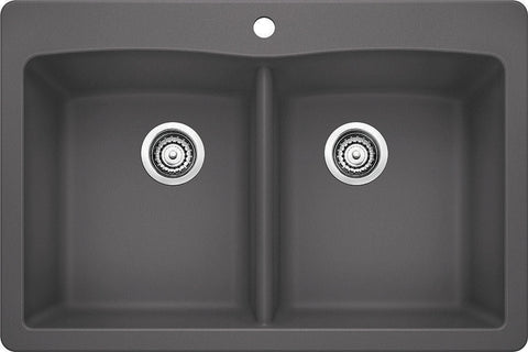 Blanco Silgranit Diamond - Dual Deck Kitchen Sink, Equal Double Bowl Cinder 441466