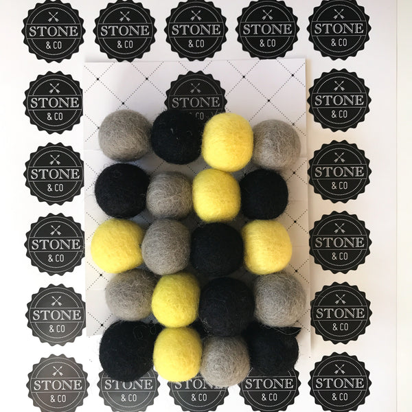Stone and Co Felt Ball Pom Pom Garland in Batman Yellow, Black, Grey - stoneandco