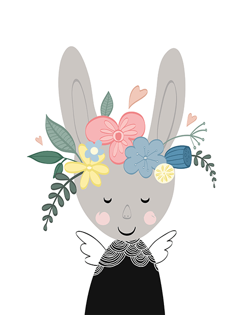 Bunny In Bloom A4 Print By Mini Learners - stoneandcoshop