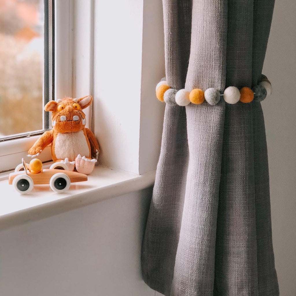 Curtain Felt Ball Tie Backs In Grey, White and Mustard - stoneandcoshop