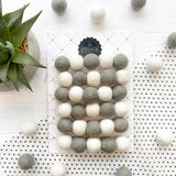 Felt Ball Pom Pom Dove Grey and White By Stone and Co - stoneandcoshop