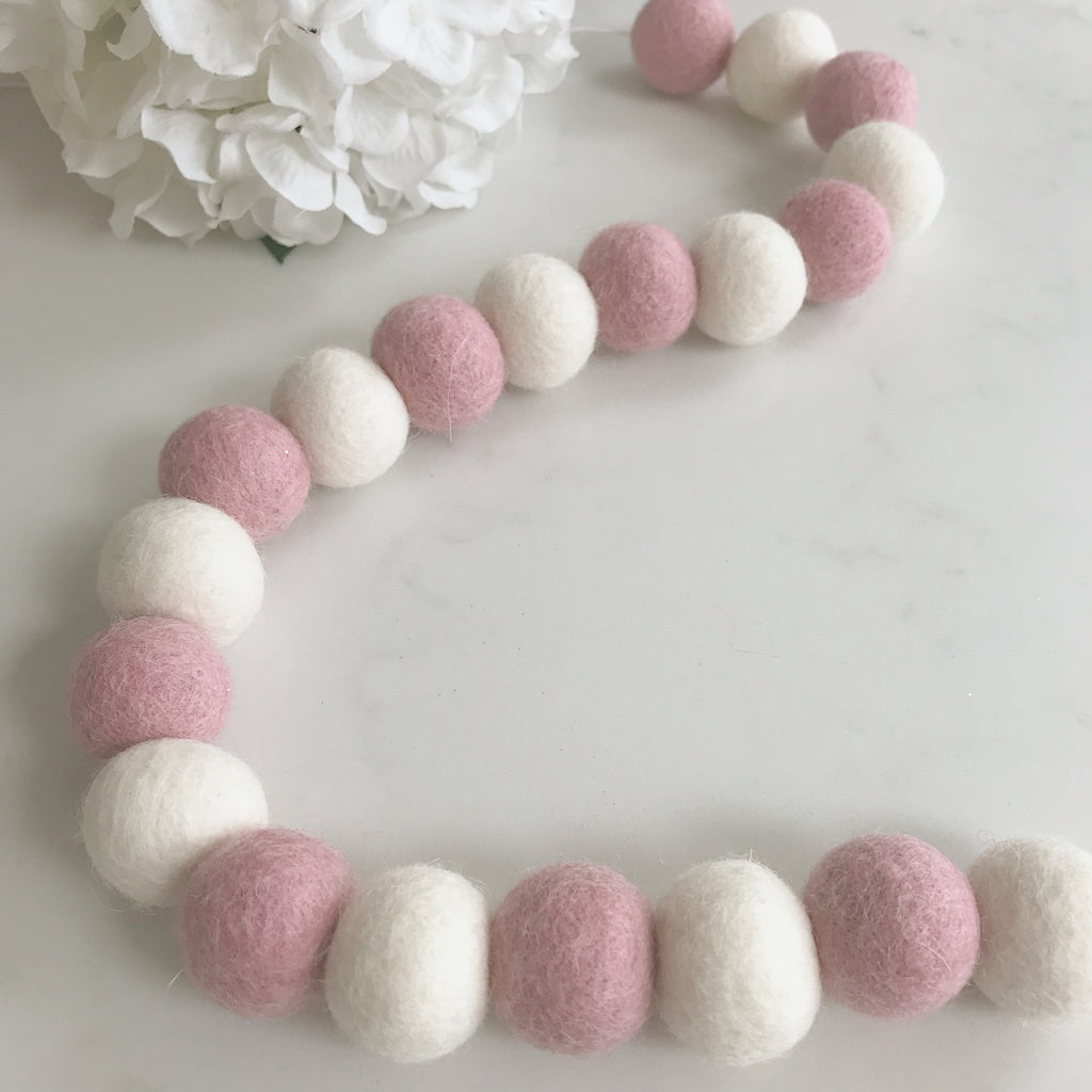 Stone and Co Felt Ball Pom Garland Dusty Pink and Natural White - stoneandcoshop