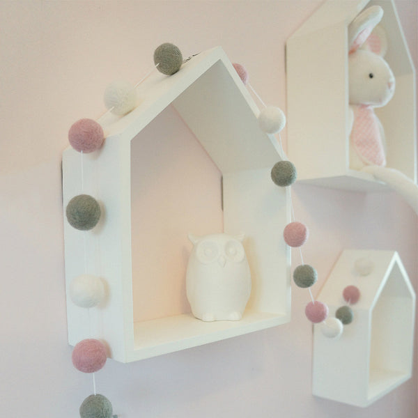 Stone and Co Felt Ball Pom Garland Dusty Pink, Dove Grey and White