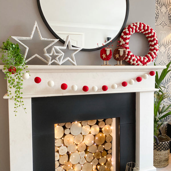 Red and White Felt Ball Pom Pom Wreath By Stone and Co - PRE-ORDER- new stock ready 18th Dec