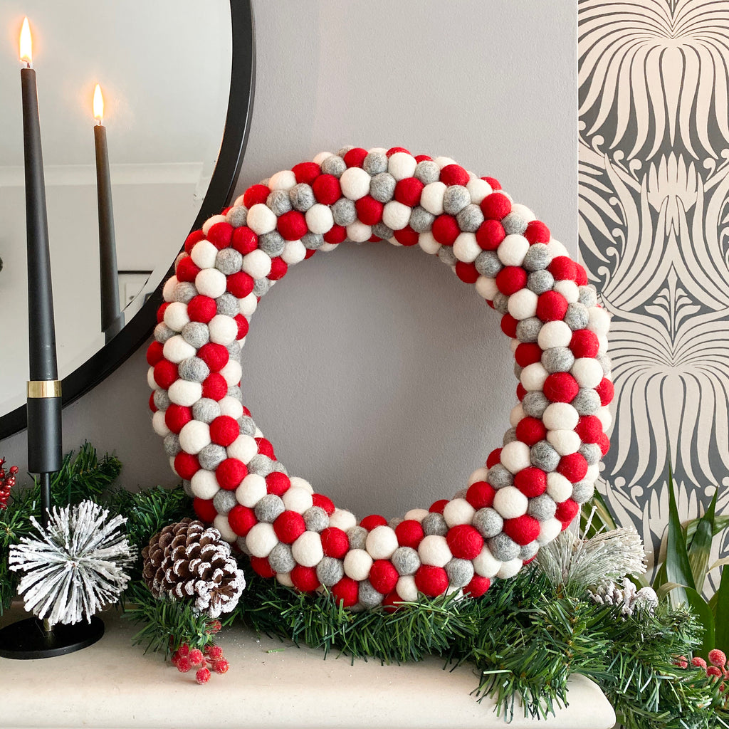 Red, Grey and White Felt Ball Pom Pom Wreath By Stone and Co - stoneandcoshop
