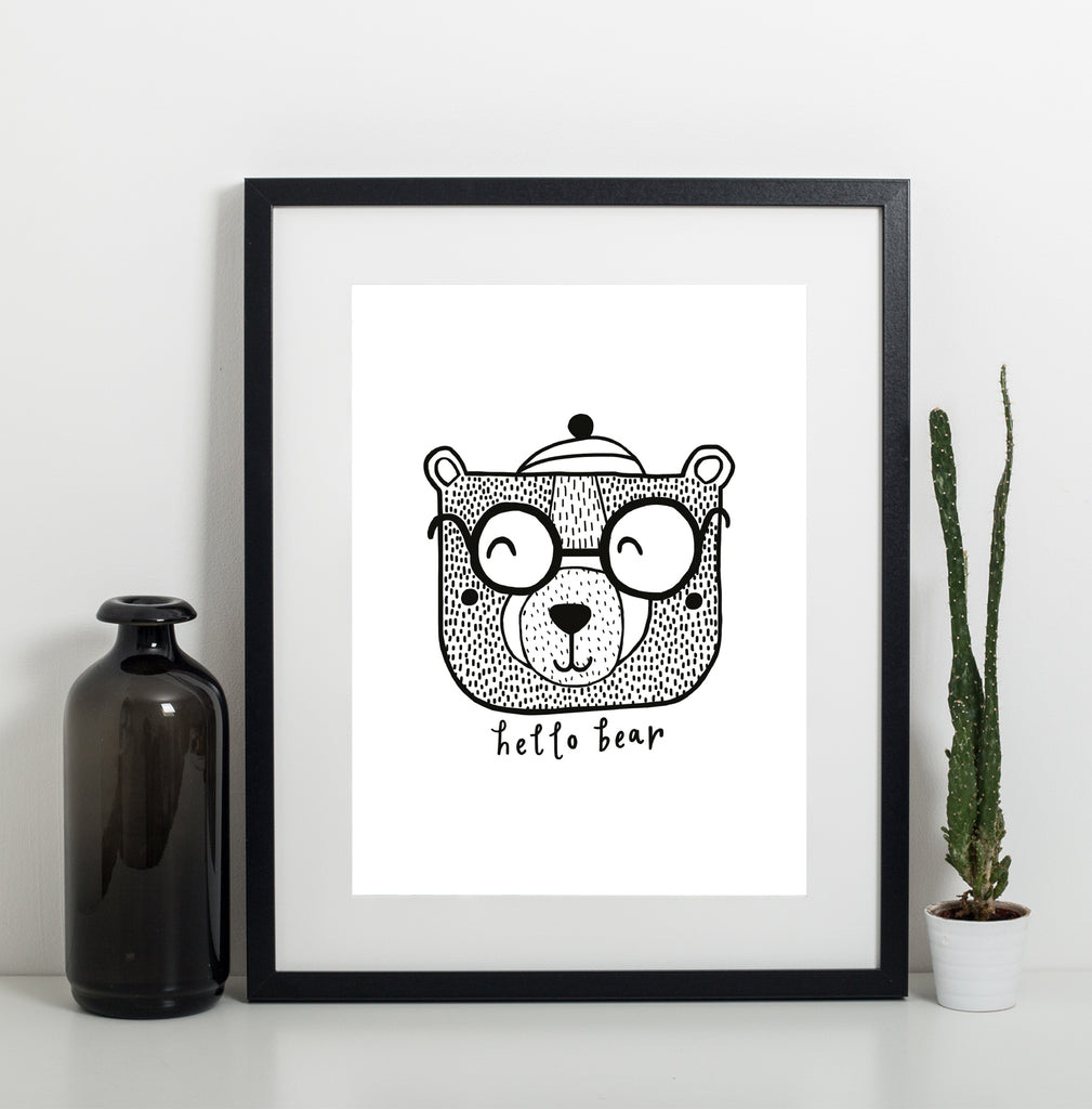 Hello Bear A3 Print from Sadler Jones - stoneandcoshop