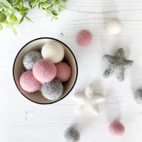 Felt Ball And Star Hoop In Pink, Grey and White By Stone & Co - stoneandcoshop