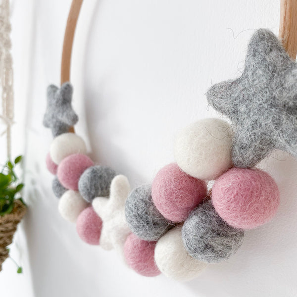 Felt Ball And Star Hoop In Pink, Grey and White By Stone & Co