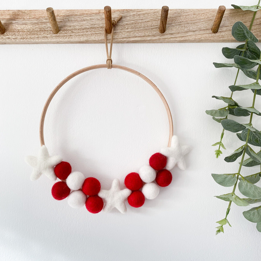 Felt Ball And Star Hoop In Red and White.  By Stone & Co