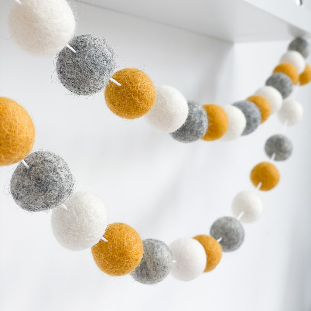 Felt Ball Pom Pom Garland Mustard, Natural Grey and Natural White By Stone and Co