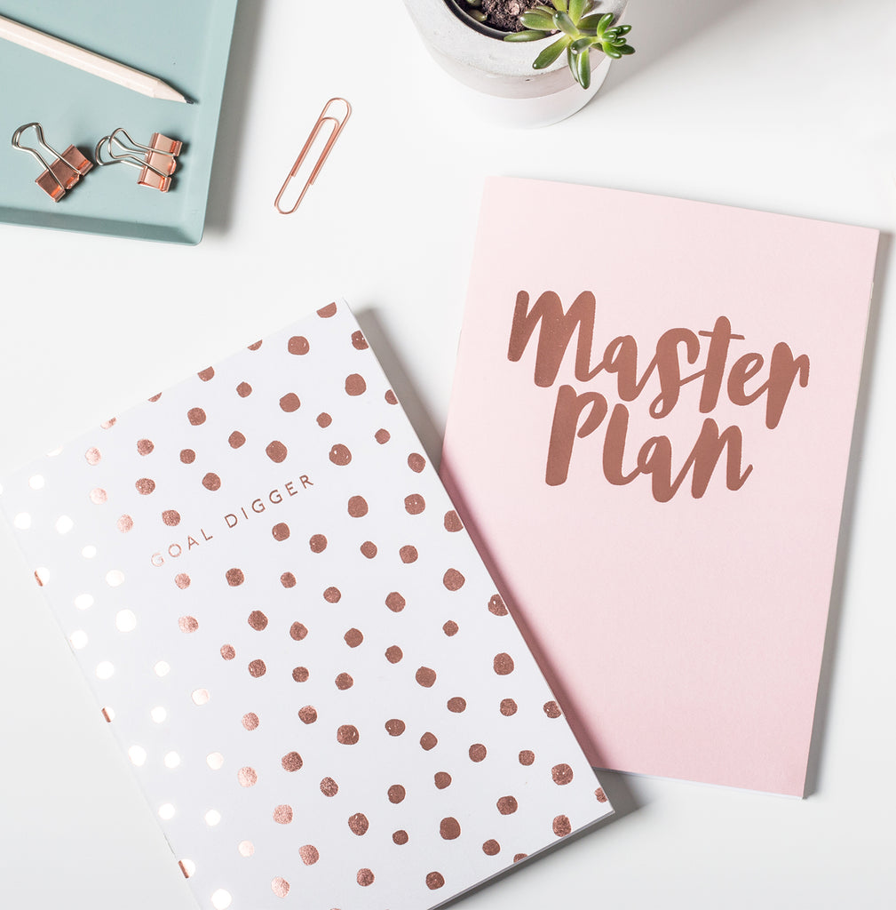 Master Plan and Goal Digger Set Of Two Notepads By Sadler Jones - stoneandcoshop
