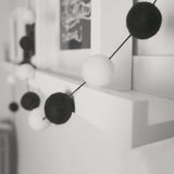Stone and Co Felt Ball Pom Garland Black and White Mono - stoneandco