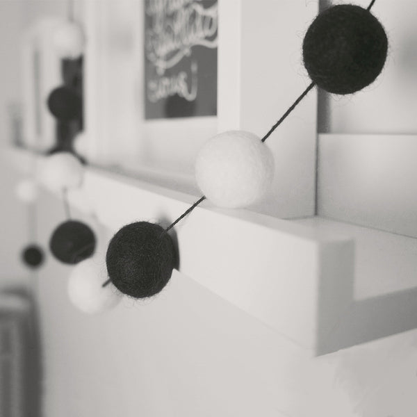 Stone and Co Felt Ball Pom Garland Black and White Mono - stoneandcoshop