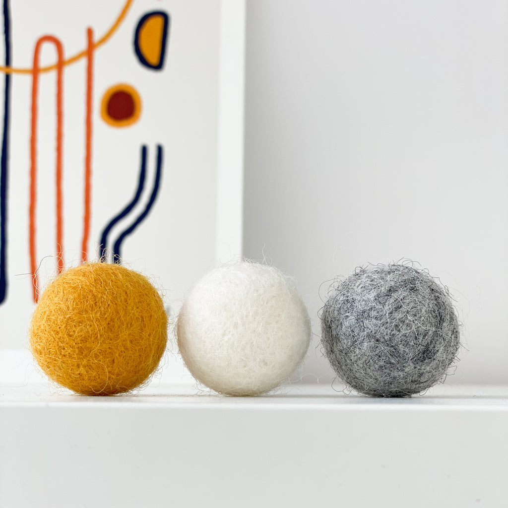 Curtain Felt Ball Tie Backs In Grey, White and Mustard