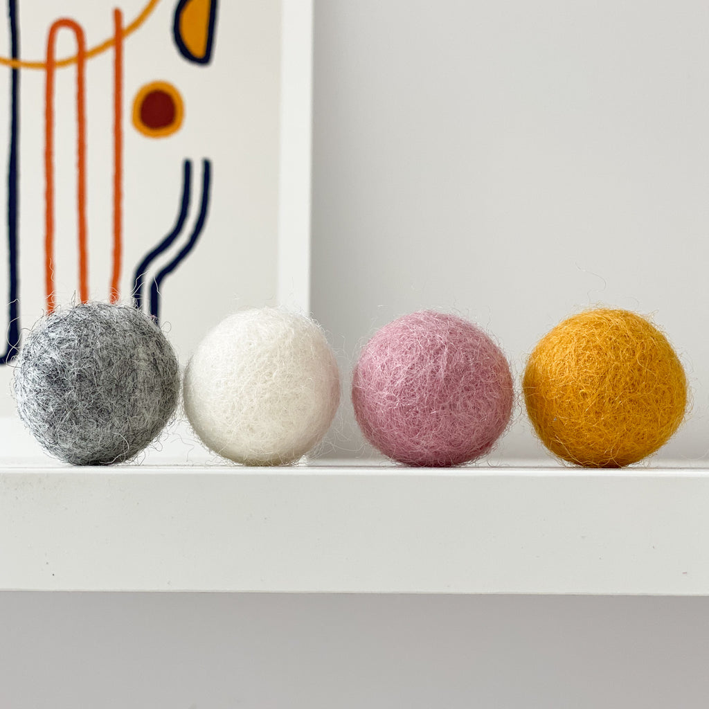 Felt Ball Flowers in Mustard, Pink, Natural Grey and Natural White