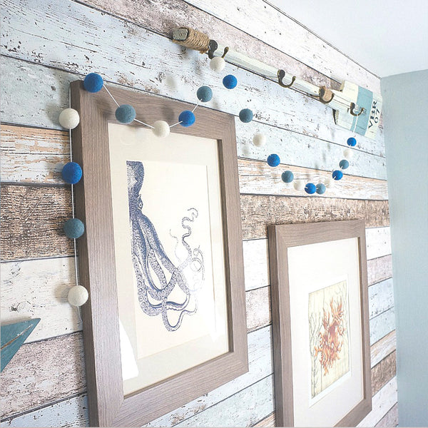Stone and Co Felt Ball Pom Garland Nautical Blues - stoneandco