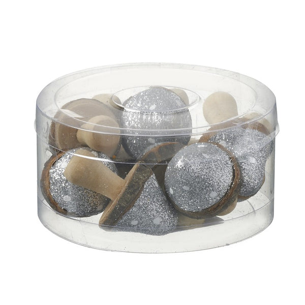 Mini Toadstools In Silver And White Glitter - Set of 10