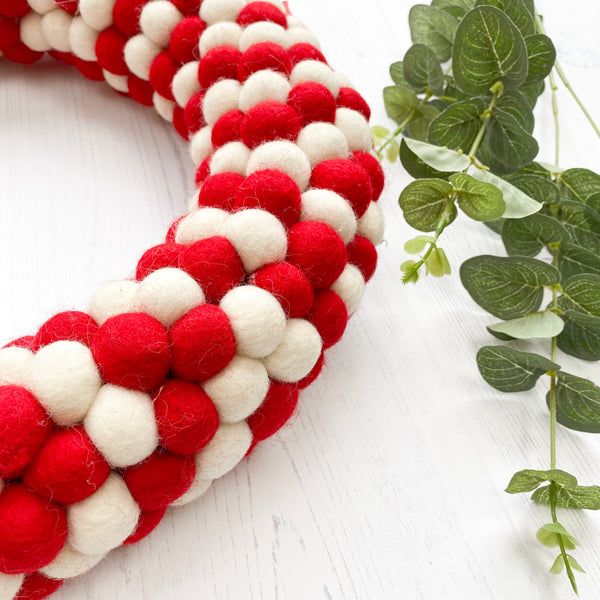 Red and White Felt Ball Pom Pom Wreath By Stone and Co - stoneandcoshop