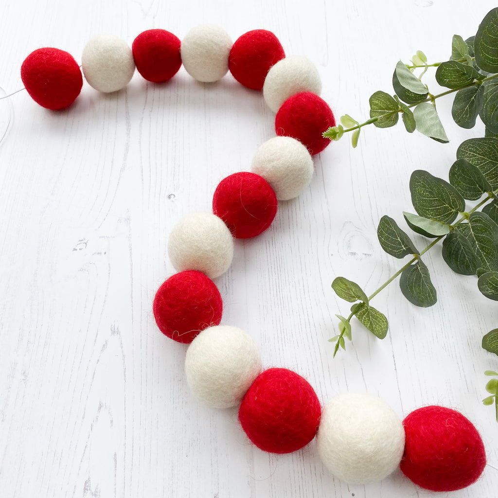 Jumbo Felt Ball Garland - Red And White - stoneandcoshop