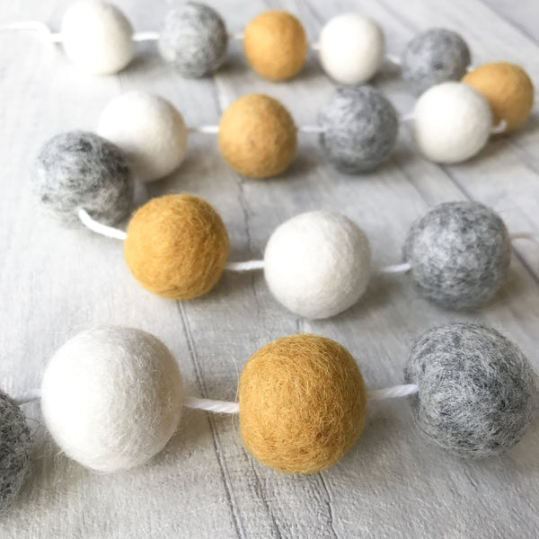 Felt Ball Pom Pom Garland Mustard, Natural Grey and Natural White By Stone and Co - stoneandco