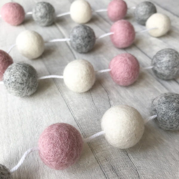 Stone and Co Felt Ball Pom Garland Dusty Pink, Natural Grey and Natural White - stoneandcoshop