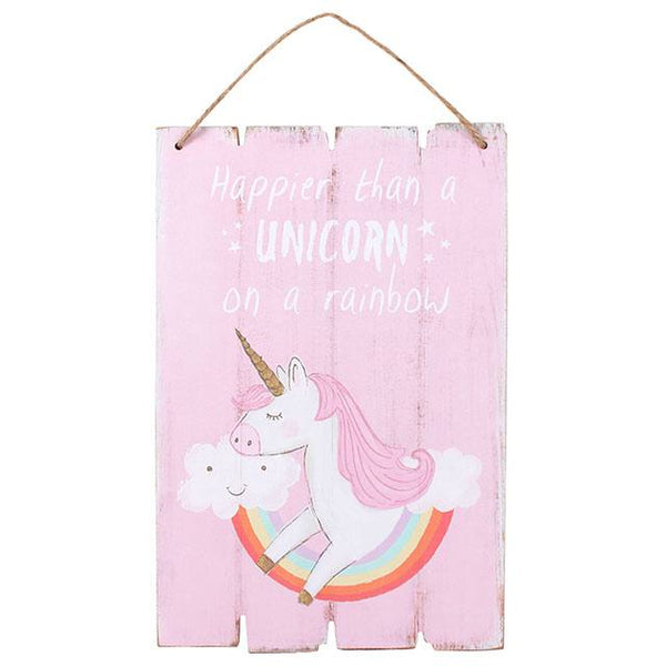 Unicorn Pink Wooden Sign - stoneandco